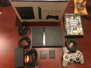Playstation 2 Slim Ps2 Chipeada + Joystick +2 Memory +juegos