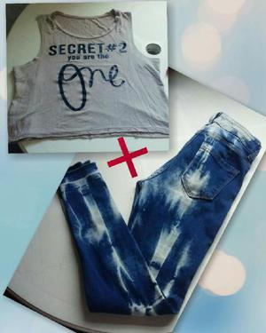 Combo!!! Jeans Marca Vertu Top