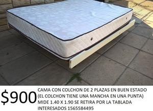 CAMA Y COLCHON DE 2 PLAZAS