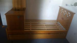 Cuna funcional roble con cama marinera.