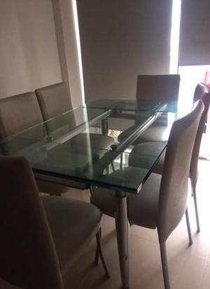 Mesa extensible de vidrio + 6 sillas