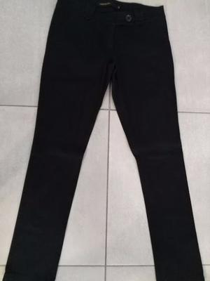 Pantalon Vestir Gabardina Negro Cuesta Blanca Tiro Bajo T42