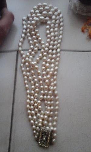hermoso collar de perlas con broche doble vuelta muy antiguo