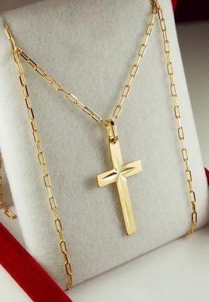 fdc31d4324f9 Conjunto cruz y cadena oro 18k grande 60cm mujer hombre