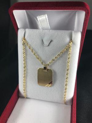 Conjunto Medalla Y Cadena Oro 18k Grande Con Grabado Hombre