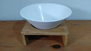Ensaladera De Ceramica Con Base De Madera