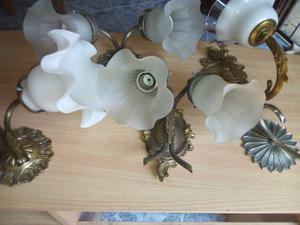 5 apliques de bronce con tulipas cel  merlo