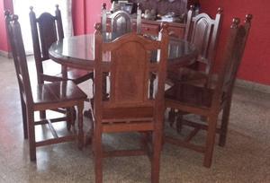 Mesa y 6 sillas de algarrobo lustrado $
