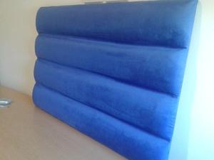 Respaldo de cama pana Azul Francia