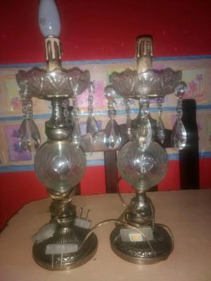 Velador vidrio y bronce