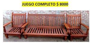 JUEGO DE LIVING DE ALGARROBO NUEVO ESTILO CEBOLLA