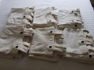 Juego de 6 cortinas de algodon rustico, listas para colgar,