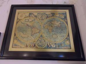 Lamina Antigua Inglesa Planisferio Enmarcada.