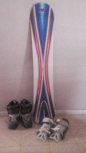 Tabla de Snowboard con fijaciones y botas