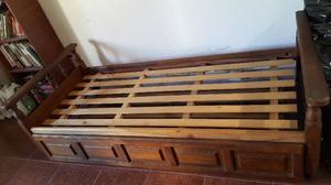Vendo Cama diván 1 plaza Algarrobo macizo con Carro