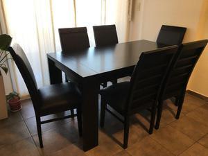 Mesa extensible con 6 sillas de algarrobo medidas | Posot Class