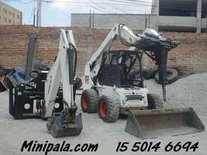 Minicargadora Bobcat con accesorios 1550146694 Minipala