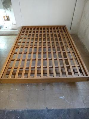 cama de madera y colchon fisher 2 plazas