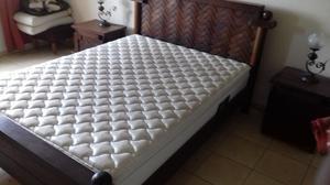 juego de dormitorio algarrobo completo con cama, velador,