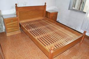 Juego Dormitorio 2 Plazas Completo, Roble Macizo Reforzado