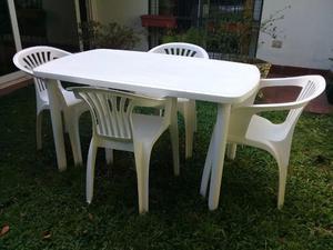 Juego de mesa y silla para jardín de plástico reforzada