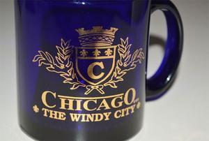 Taza Recuerdo De Chicago cristal azul