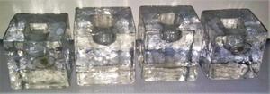 4 Porta vela de cristal en forma de cubos, con sello