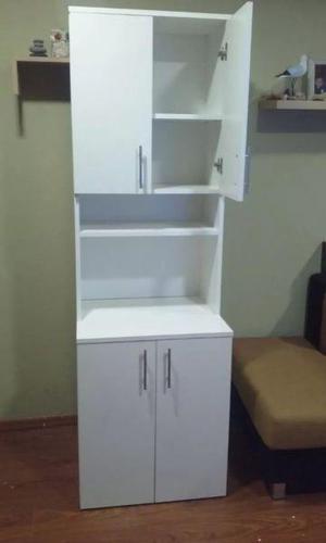 Mueble De Cocina Porta Microondas Y Alacena Melamina 18 Mm