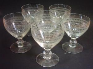 Seis Copas De Cristal Checoslovaco Para Vino