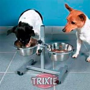 Comedero Bebedero Doble Perros Chicos Altura Regulable