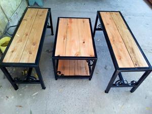 Mesa y bancos de madera para jardin rosario posot class for Banco de jardin de hierro y madera