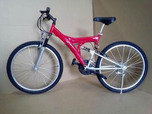 Bici Mtb Doble Suspension Rod 26 Unisex, Casco Y Par Luces