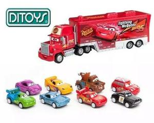 Cars Combo Camion Mack + 8 Autitos Rayo Macqueen Orig Ditoys