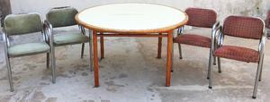 Juego de comedor diario - Mesa de Madera y 4 sillas de caño