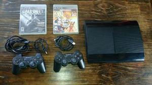Play Station 3 Ultraslim 500gb Con Dos Controles