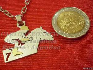 Caballo De Carrera Y Jockey - Dije En Plata Y Oro