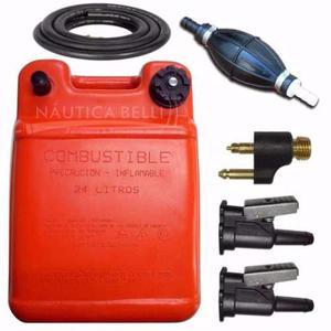 Kit Tanque Combustible 24 Lts + Conectores + Pera - Nautica