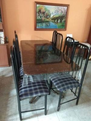 Mesa de vidrio templado + 8 sillas