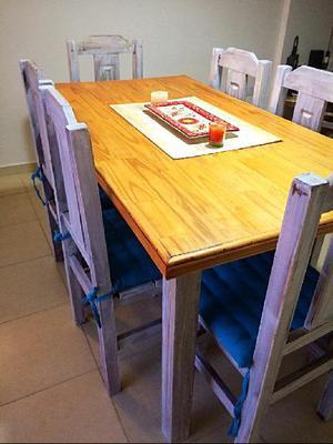 VENDO juego De Mesa de Cedro y 6 sillas