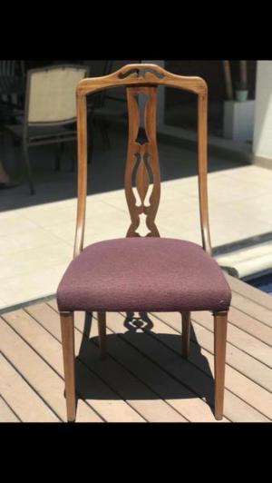 6 sillas de madera de roble color uva