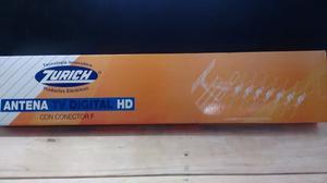 Antena TV Digital Hd marca Zurich + 10 mts de cable coaxil