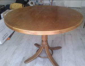 Mesa comedor antigua estilo thonet madera roble pie central