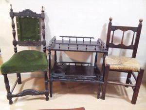 Mesita bar + 2 sillas antiguas precio x todo