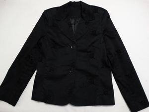 Saco Mujer Vestir Negro Labrado Floreado Talle L