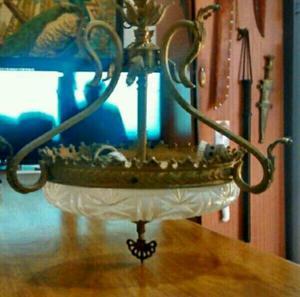 Líquido Hermosa Lámpara Antigua de Bronce