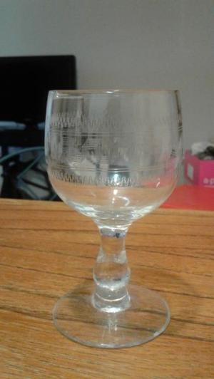 juego de 6 copas de cristal labradas para cognac
