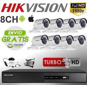 Kit Hikvision 8 Turbo Hd  Hghi + 8 Cámaras Cables