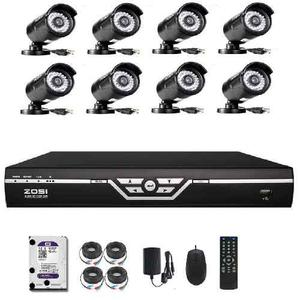 Kit Seguridad 8 Camaras Dvr Cctv Hd Hdmi +cables + Disco 1tb