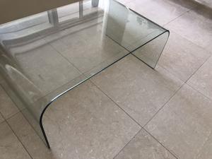Mesa baja vidrio templado x cm patas madera posot class - Mesa baja cristal ...