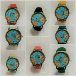 Reloj Pulsera Mapamundi Avion Colores X Mayor X 10